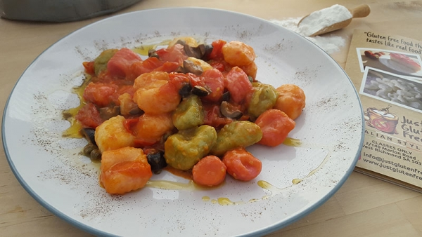 Rainbow Gnocchi with cherry tomatoes